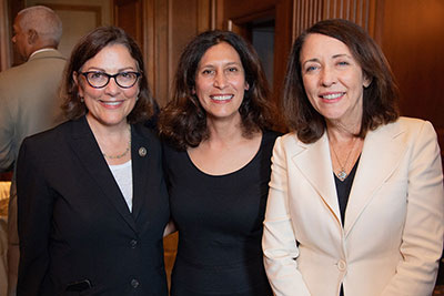 BSA President and CEO Victoria Espinel (center) with 2018 Software Champion Sen. Maria Cantwell (right) and 2017 Software Champion Rep. Suzan DelBene (left), both representatives of Washington state.